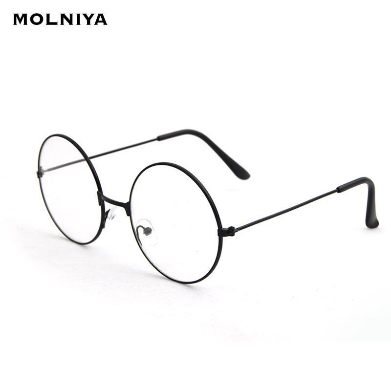 2019 New Classic Vintage Glasses Frame Round Lens Flat Myopia Optical Mirror Simple Metal Women/Men Glasses Frame