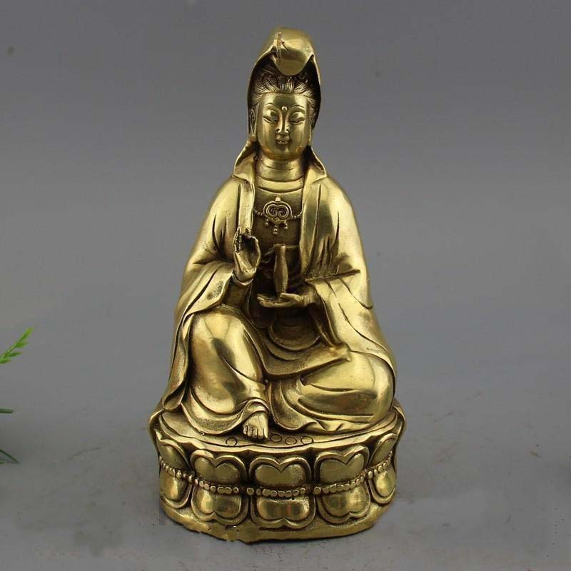 China Buddhism Fane Brass Sit Lotus Bottle Kwan-yin Guan Yin StatueChina Buddhism Fane Brass Sit Lotus Bottle Kwan-yin Guan Yin Statue