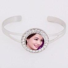 Кнопочный браслет для сублимации краски Модный женский браслет с цирконом термопереводной Рисунок ювелирные изделия Индивидуальные расходные материалы