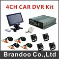 4CH SD CAR DVR for school bus used, 7 inch LCD monitor+4pcs inside mini camera, complete MDVR kit
