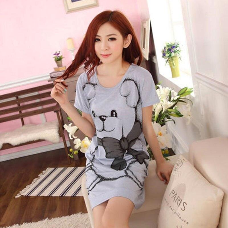 Summer vestidos Women's Nightgowns Sleeveless Short-sleeve Dress Cute Girls Cartoon Bear Sleepwear Drop ship # 3