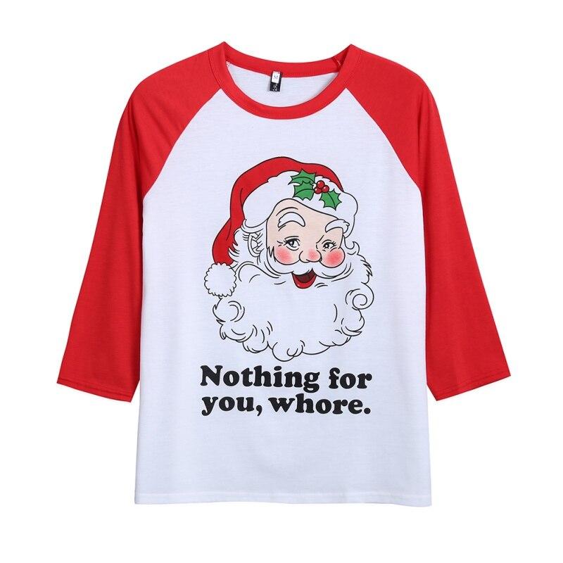 Hot Women Christmas Letter Printed Cute Long Sleeve O-neck T-shirt For Festival Tops Girls Shirt