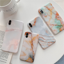 Marble case for iphone 7 stone texture Sequin summer 8 6 6s plus xr x xs max granite painted glossy soft cover