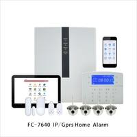Fokus industrie Verdrahtete Alarm FC-7640 ABS RJ45 Ethernet Smart Home Alarm TCP/IP GSM Sicherheit Alarm System Mit Außen kugel Cam