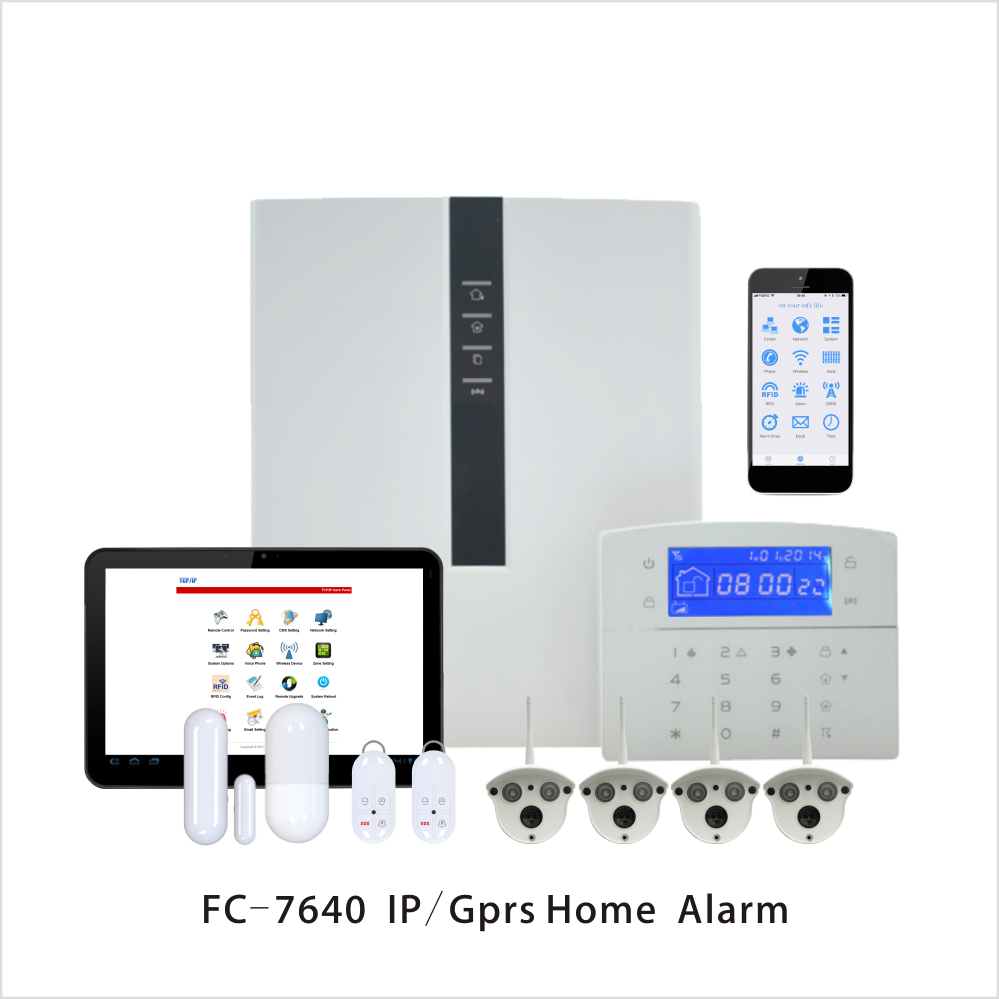 Focus Industrial Wired Alarm FC-7640 ABS RJ45 Ethernet Smart Home Alarm TCP/IP GSM Security Alarm System With Outdoor Bullet Cam