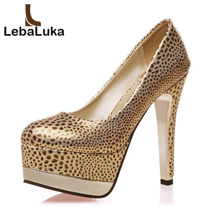 LebaLuka Size 33 47 Ladies Polka Dot High Heels Shoes Fashion Platform Pumps Round Toe Spike Toe Party Ladies Office Footwear