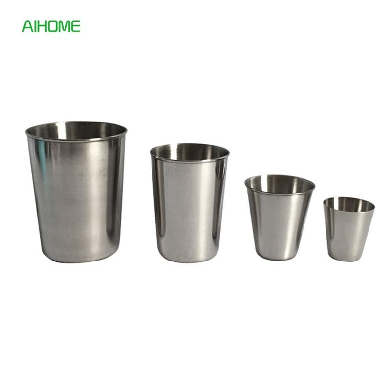 New Stainless Steel Metal Beer Cup Wine Cups Coffee Tumbler Tea Milk Mugs Home Drinkware 30ml 50ml 180ml 320ml Кубок