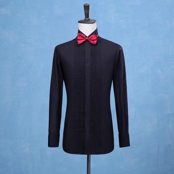 2019 nowych moda smokingi dla pana młodego koszule drużba Groomsmen biały lub czarny mężczyźni koszule ślubne formalna okazja mężczyźni koszule tanie i dobre opinie Bowith Tuxedo koszule Pełna COTTON Suknem Stałe Pojedyncze piersi MANDARIN COLLAR Formalne REGULAR N-021 men shirts wedding groom prom business casual