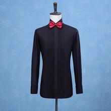2019 nowych moda smokingi dla pana młodego koszule drużba Groomsmen biały lub czarny mężczyźni koszule ślubne formalna okazja mężczyźni koszule tanie tanio Bowith Tuxedo koszule Pełna COTTON Suknem Stałe Pojedyncze piersi MANDARIN COLLAR Formalne REGULAR N-021 men shirts wedding groom prom business casual