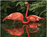 MaHuaf-W438 lakeside Flamingo painting by numbers animali picture Acrilico di arte della parete della tela di canapa pittura home decor