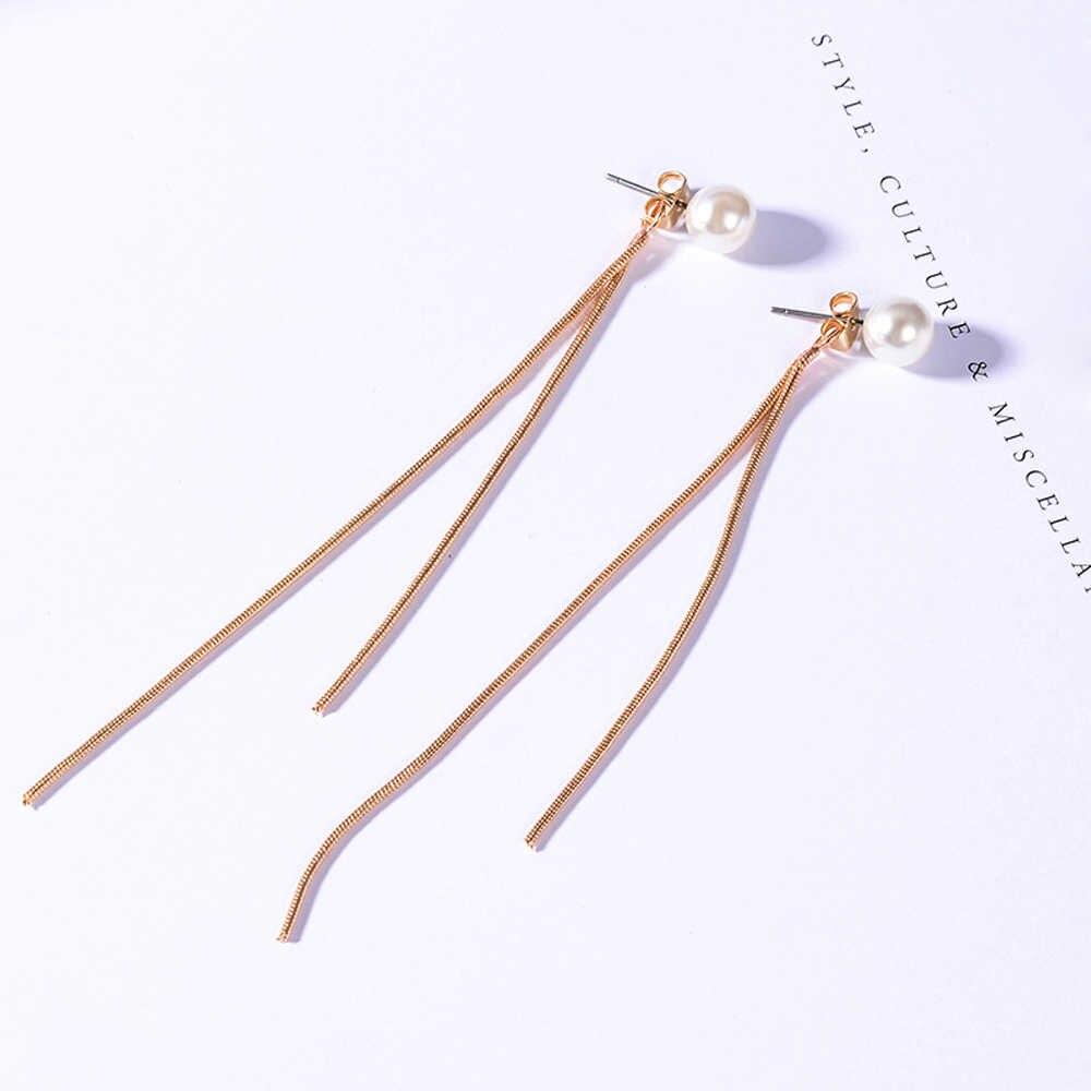 Pendientes de perlas simples Pendientes elegantes de las mujeres elegantes del pendiente largo de la perla de la CZ Pendientes colgantes de la cadena de la serpiente Pendientes de la borla coreana