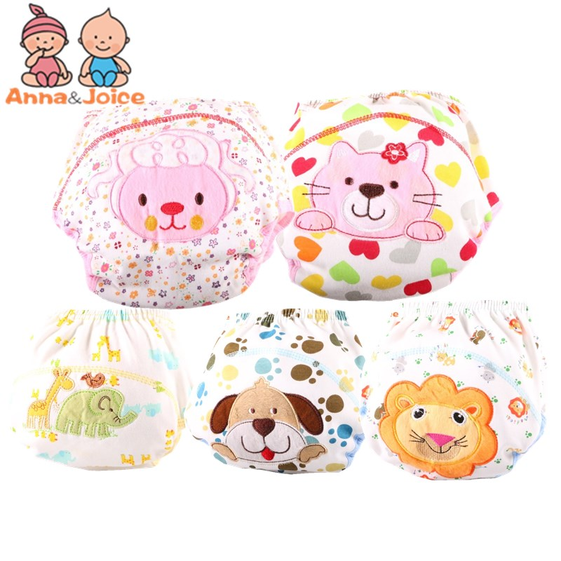 2pc/lCute Baby Diapers Reusable Nappies Cloth Diaper Washable Infants Children Baby Cotton Training Pants Panties Nappy Changing