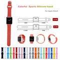 De silicona de colores 38/42mm correa con conector adaptador para apple watch correa para iwatch deportes hebilla pulsera serie 1/2