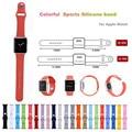 Silicone colorido 38/42mm pulseira com conector adaptador para apple watch strap para iwatch esportes pulseira fivela série 1/2