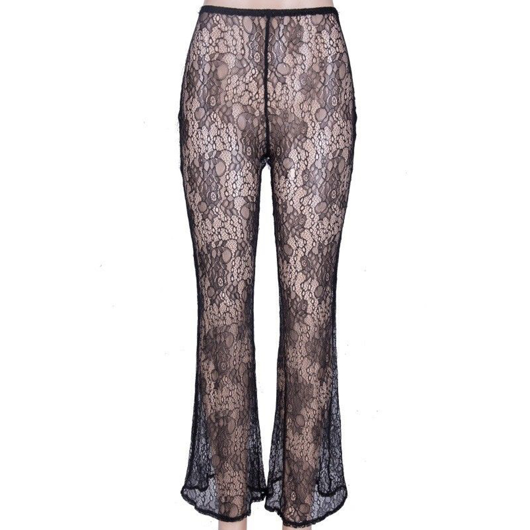 9cf923e7b5 Women Summer Beach Mesh Sheer Bikini Cover Up Swimwear Transparent See  Through Long Pants High Waist Lace Wide Leg Trousers Z4-in Pants & Capris  from ...