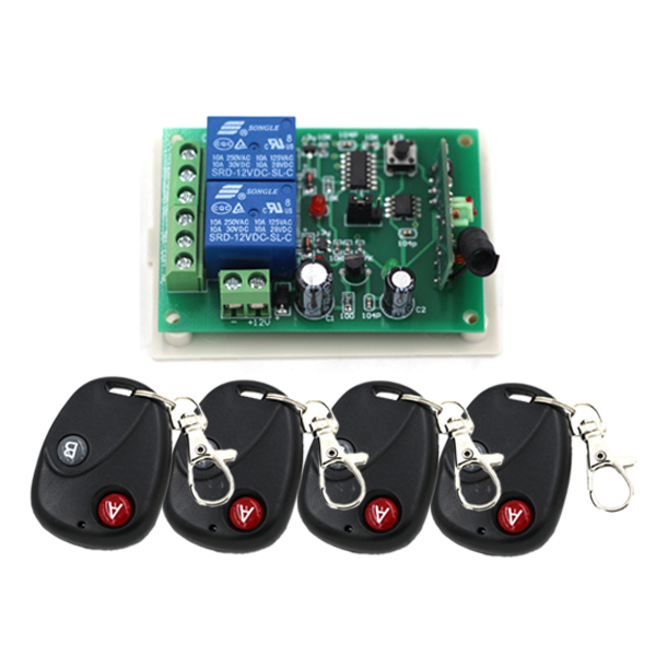 DC 12V 24V Wireless Remote Control Switch 2CH Relay Remote Switch Toggle Latched Momentary 315Mhz 433Mhz 315 433mhz 12v 2ch remote control light on off switch 3transmitter 1receiver momentary toggle latched with relay indicator