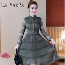 211884bad3 La MaxPa 2019 New Arrival vintage women sweet lace party dress long sleeve  Lace Stitching fairy