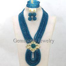 Pretty Teal Blue Nigerian Wedding Beads Bridal Jewelry Set Chunky Bib African Jewelry Sets More Colors Free Shipping WA459