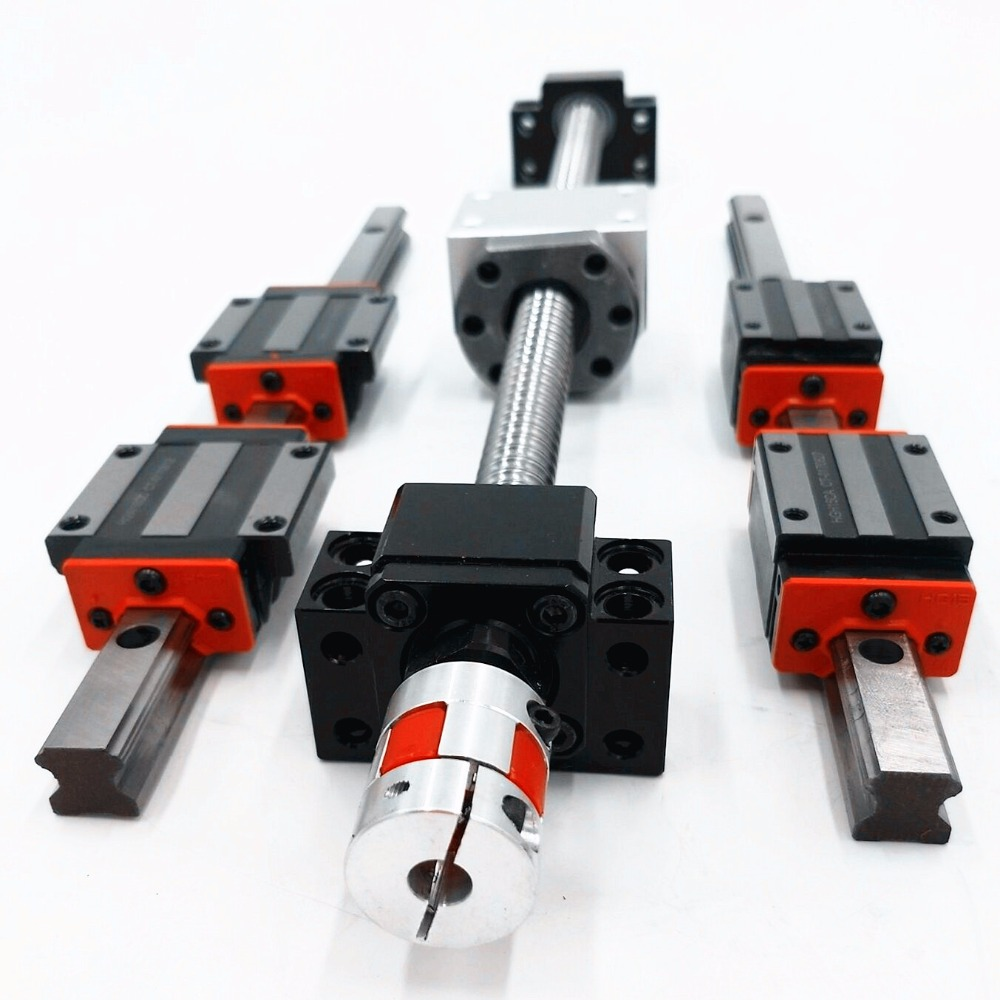 6 sets linear guideway Rail HBH20-450/1200/1300mm+4 ballscrews 1605-450/1200/1300/1300mm + bk12bf12 + shaft couplings for  cnc linear shaft rail high precision guideway linear rail unit