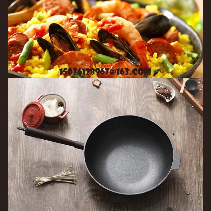 Cast iron wok 32cm oak handle a nonstick pan no coating cast iron pot thickening