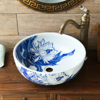 Chinese retro art blue and white porcelain above counter basin round hotel bathroom outdoor wash basin LO82506