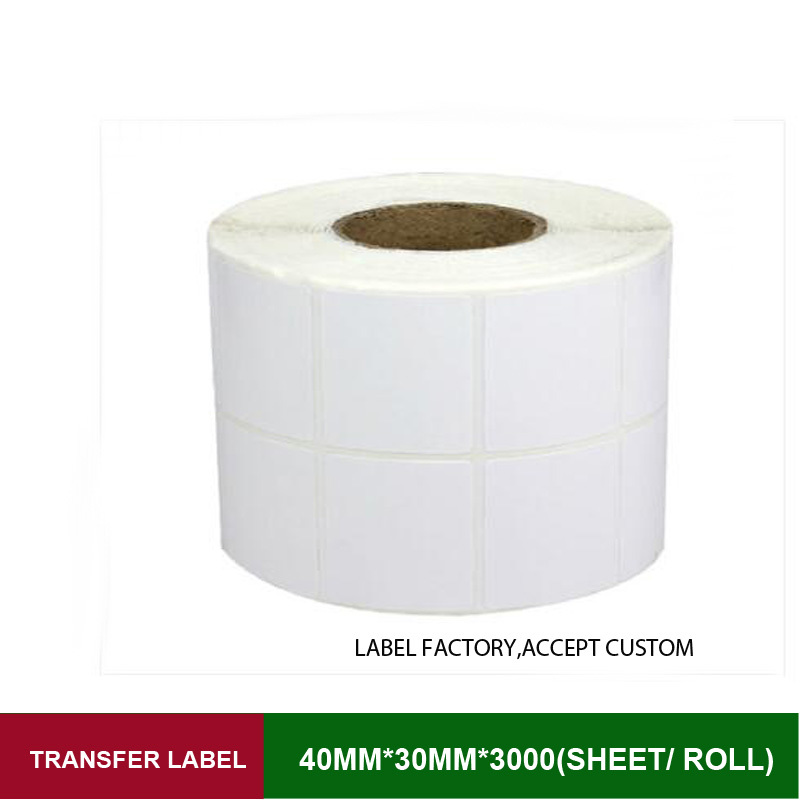 40*30mm double row transfer label sticker 3000 sheets per roll direct thermal bar code adhesive paper supply custom order