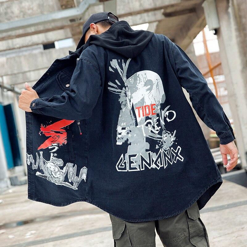Hombres Capucha Cuello Negro Mezclilla Hombre Tapa Hip Vaquero Casual Marca Diseño Para Chaqueta Con Streatwear Abrigo Zanja Hop De Largo twHY8a
