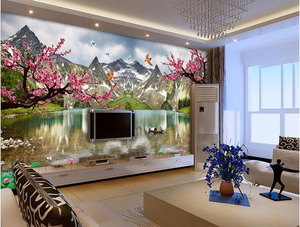 Custom photo 3d wallpaper Plum blossom lotus flower landscape scenery decoration painting 3d wall murals wallpaper for walls 3 d custom photo wallpaper natural scenery mangrove landscape custom wallpaper business hotel home decoration backdrop murals