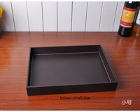 black/brown color woode+PU leather storage tray home decoration tray hotel fruit snack desk food tray dessert tray PTP07