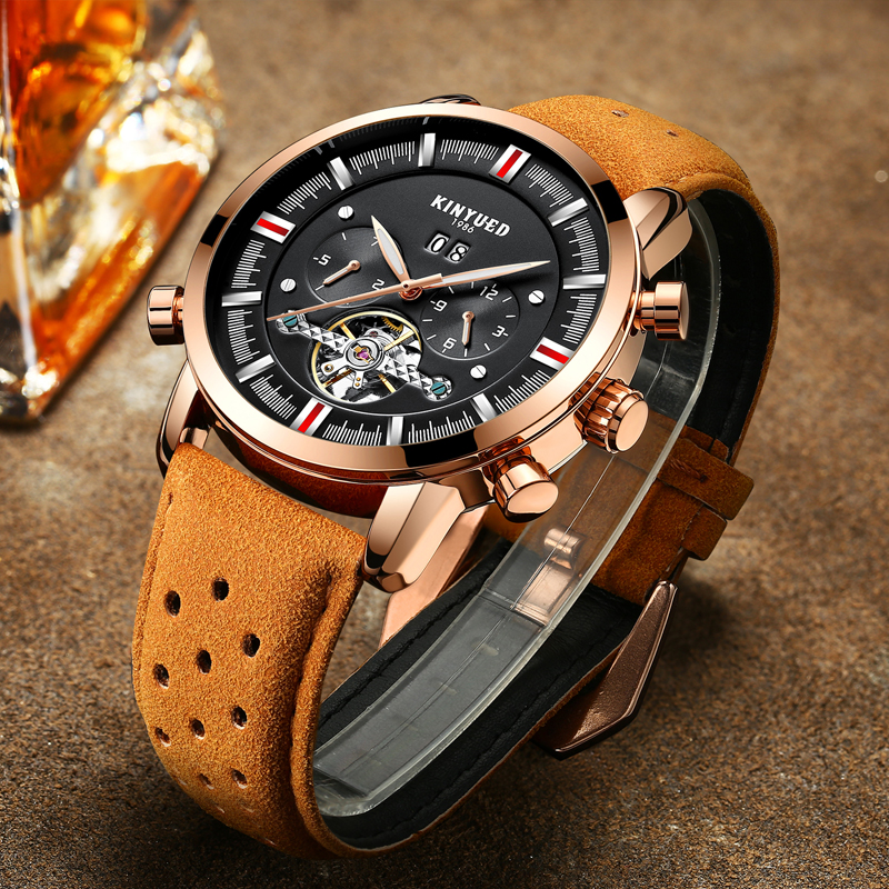 KINYUED Relogio Masculino Top Brand Perpetual Calendar Mens Watches Skeleton Tourbillon Automatic Mechanical Watch Men Clock kinyued tourbillon watch men perpetual calendar skeleton mens automatic mechanical watches multifuntional relogio masculino