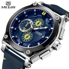 MEGIR Men Watch Top Brand Sport Analog Quartz Wrist Watch Leather Strap Chronograph Business Watches For Men Relogio Masculino все цены
