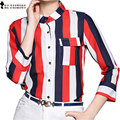 Moet &She Stylish High Qualtiy Silk Fall Blouse Striped Color Block Red White Blue Business Occasion Office Tops T69913R