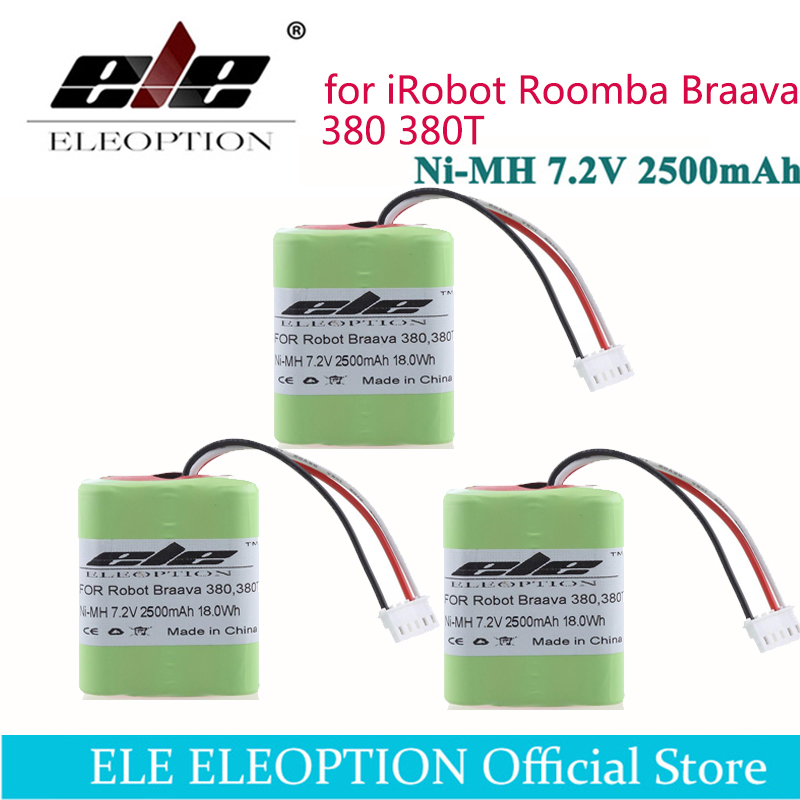 ELEOPTION 3 piezas 7,2 voltios 18.0Wh nuevo 2.5Ah 2500 mAh Ni-MH 7,2 V batería recargable para iRobot Roomba Braava 380 380 t alta calidad