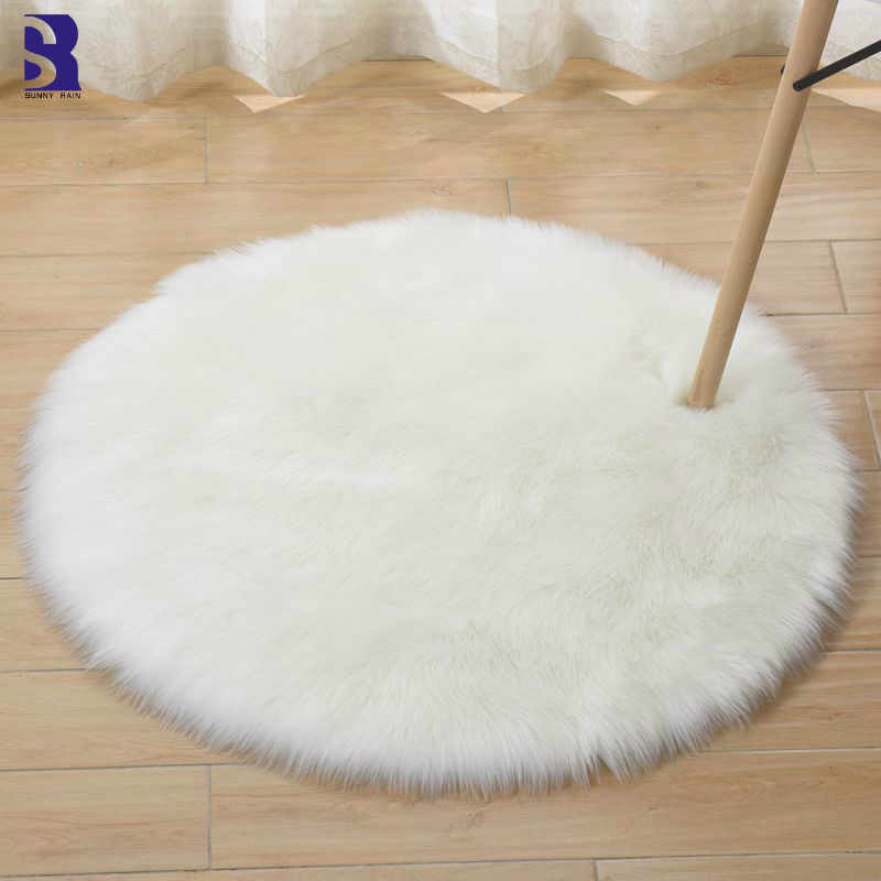 Sunnyrain 1 Piece Artificial Fur Sheepskin Rug White Round Rugs For Living Room Bedroom Fluffy White Rugs Rug Aliexpress