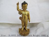 Tinh tế Tây Tạng của Trung Quốc Phật Giáo brass Phật Đứng trên hoa sen tượng