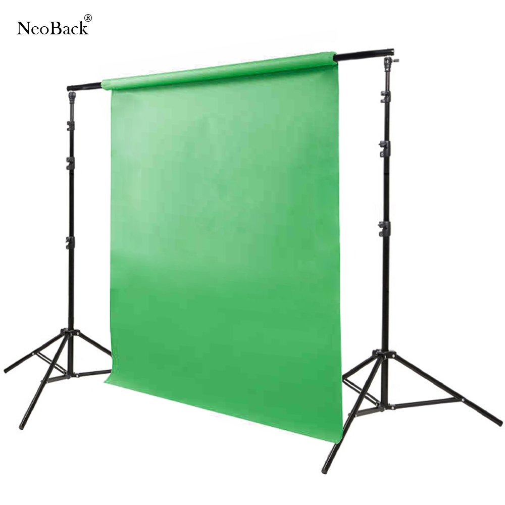 NeoBack Good quality 3x2.8M Pro Adjustable Background Support Photo Backdrop Crossbar Stand Kit Photography stand with 3 clips photo studio 2 6 3m adjustable background support stand photo backdrop crossbar kit photography equipment