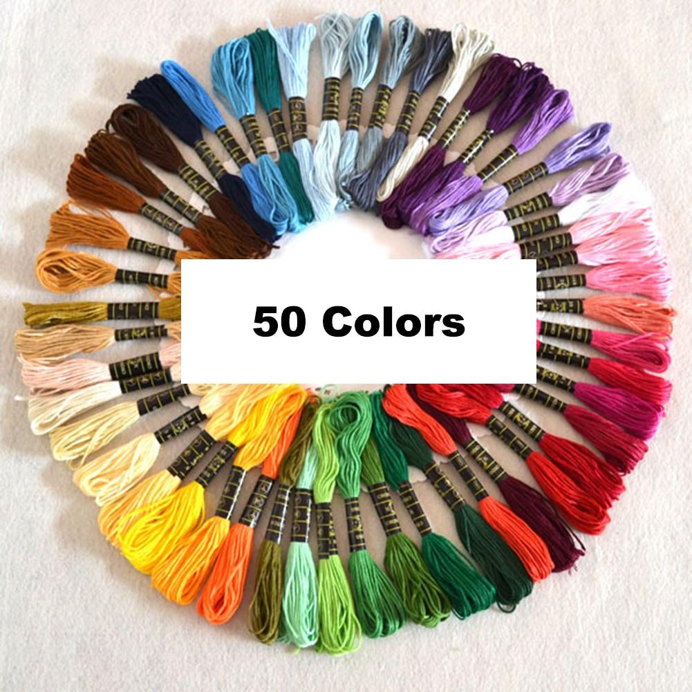 New 150/50Pcs Multicolor Random DMC Cotton Thread Embroidery Thread Floss Sewing Skeins Craft Knitting Spiraea