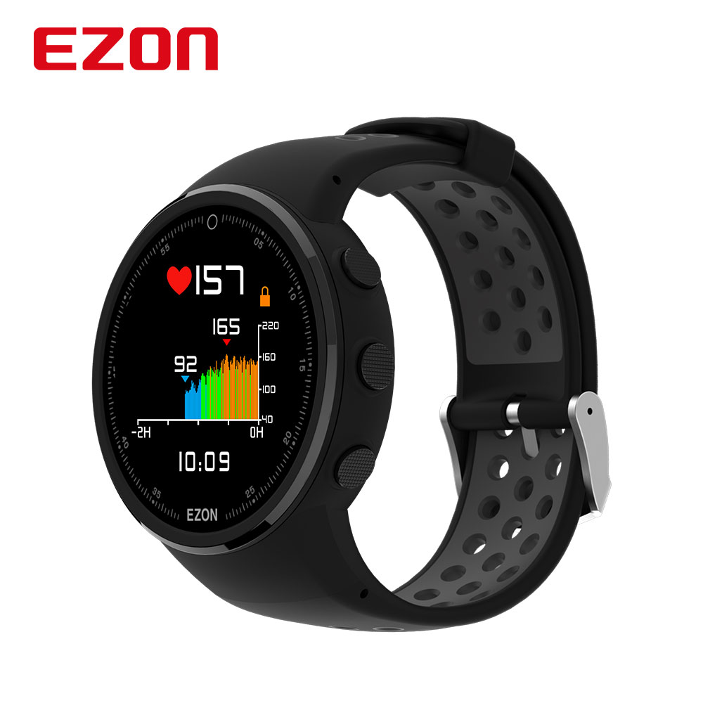 EZON T958 HD Color Screen Optical Heart Rate GPS Smartwatch Bluetooth Marathon Running Mens Watch for Android IOS Phone