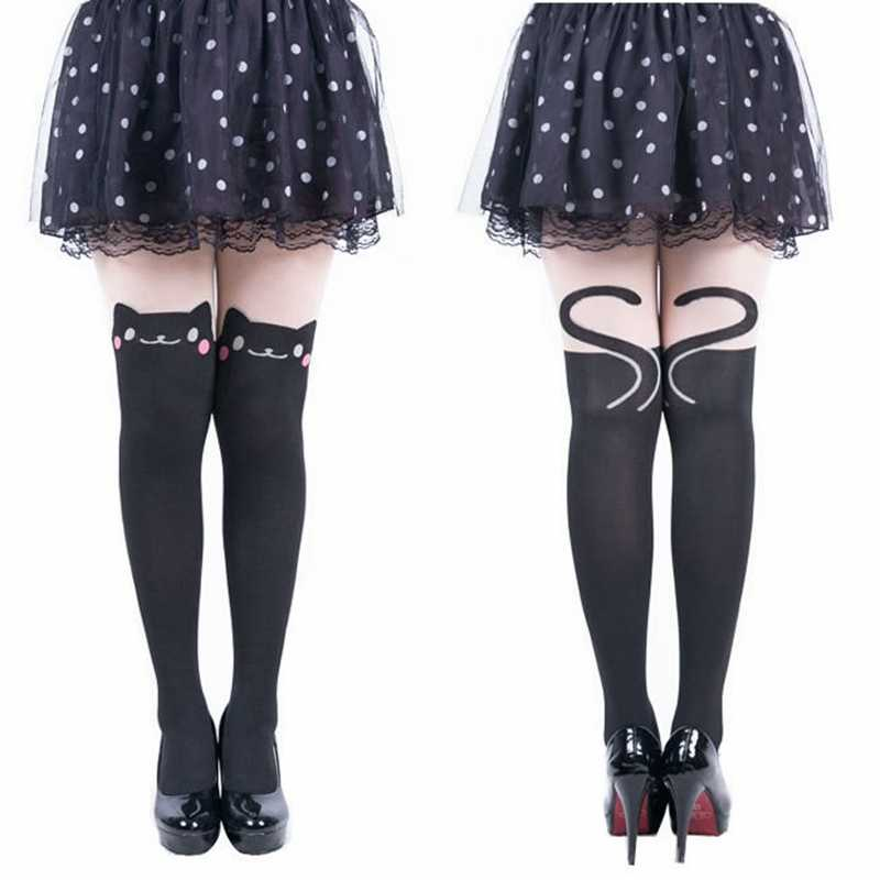 08a9bd4434f ... Women Fashion Pink bow Cat Nylon Tights Girls Kawaii Pantyhose Autumn  Eyes Of The Cat Pantyhose ...