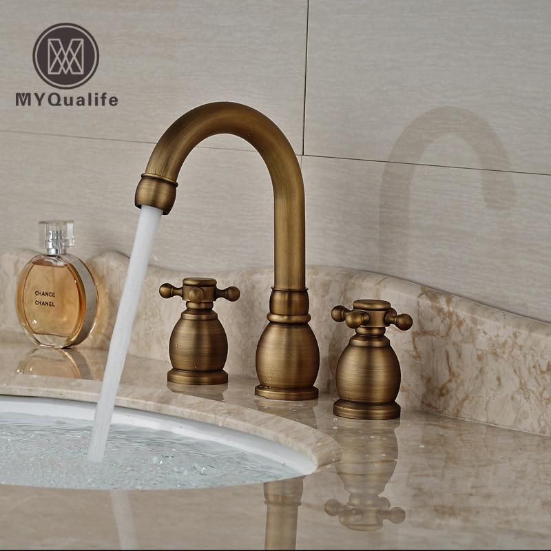 Фотография Antique Brass Dual Handle Basin Faucet Widespread 3 Hole Bathroom Mixer Taps Deck Mount