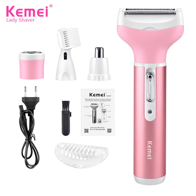 Kemei Female Epilator Multifunction 4 In 1 Hair Removal Women Electric Shaver Rechargeable Nose Eyebrow Hair Clippers D43 3