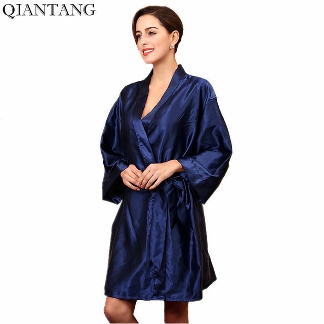 243a8d5e97 Navy Blue Womens Robe Hot Sale Lady Faux Silk Kimono Bath Gown Sexy  Bathrobe Nightgown Mujer Pijama One Size Y7444
