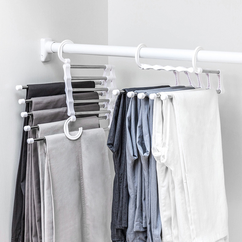 Scarf Pants Hangers Multifunction Dual Travel Hooks 5 Ways Tie Scarfs Belt Towel Magic Steel White Hanger Storage Rack