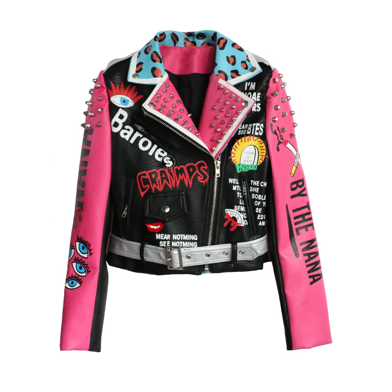 2019 Punk Style Fashion Women Jacket Coat Rivets Beading Pu Leather Women Bomber Jacket Oversize Cool