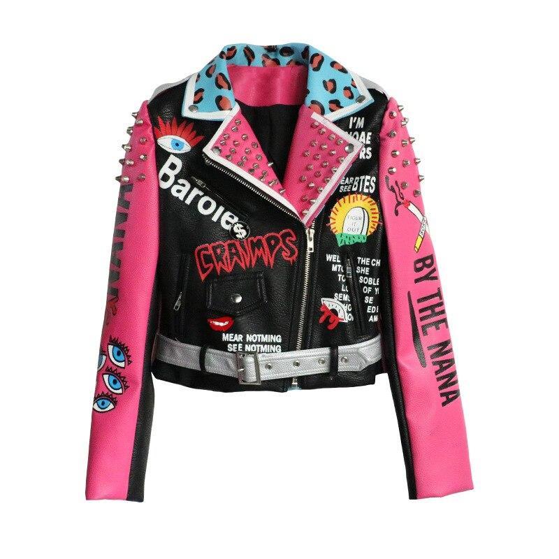 2019 estilo Punk moda mujer chaqueta abrigo remaches cuentas Pu cuero mujeres bombardero chaqueta Oversize Cool chaqueta Top para mujer-in chaquetas básicas from Ropa de mujer    1