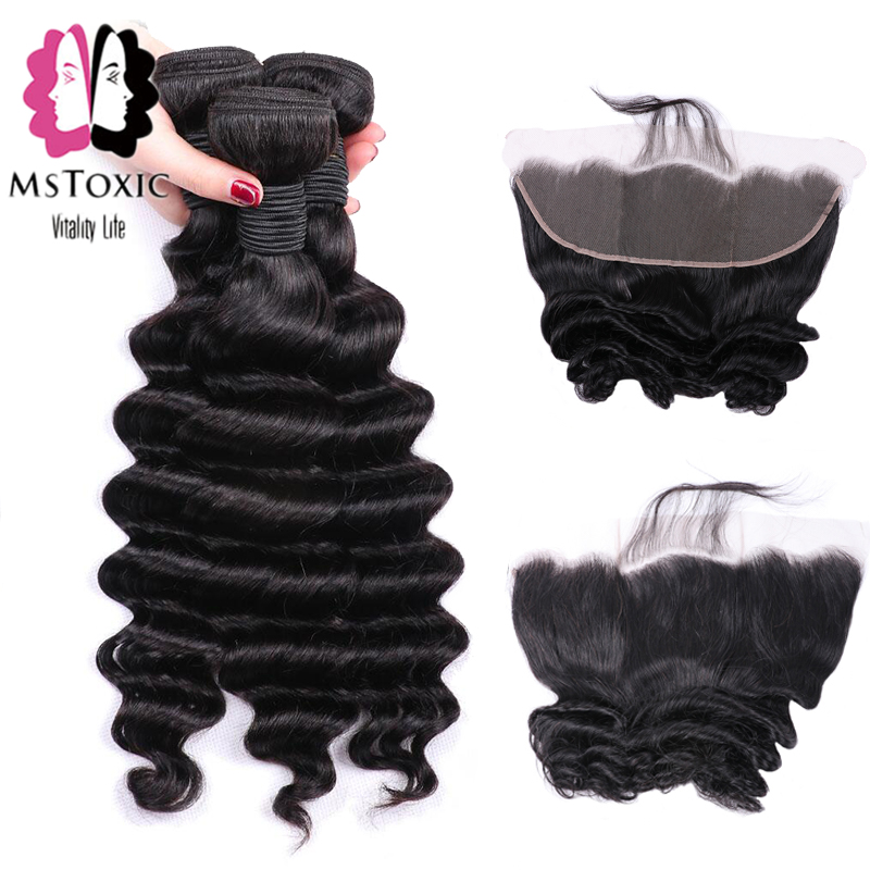 Mstoxic Brazilian Loose Deep Wave Bundles With Frontal Closure Lace Frontal With Bundles Remy Human Hair