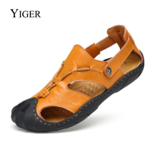 YIGER New Men Sandals Genuine Leather Large Size shoes Men Beach Slippers Big Size Leisure Slip-on Man Sandals Sewing Soft  0079 2018 summer big size men s sandals british fashion genuine leather beach shoes mens casual massage non slip large slippers flats