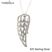 Original 925 Sterling Silver Openwork Angel Wing Silver Necklace Fits for DIY Pendant Necklace For Women Gift