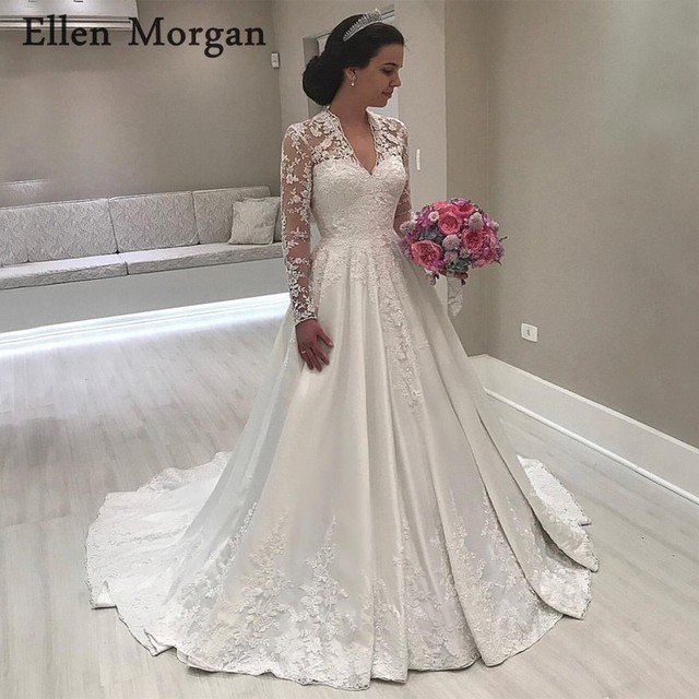 Aliexpress.com   Buy Vintgae Long Sleeves Satin Wedding Dresses 2018 Sexy V  Neck Floor Length Lace Appliques Satin Summer Spring Garden Bridal Gowns  from ... 59244af621f3