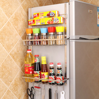 New No trace Stainless Steel Refrigerator Storage Rack Household Spice Jars Hanging Storage Shelf Home Organizer